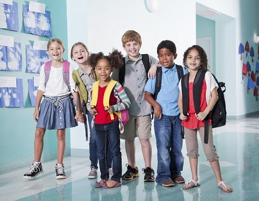 Children in school hallway